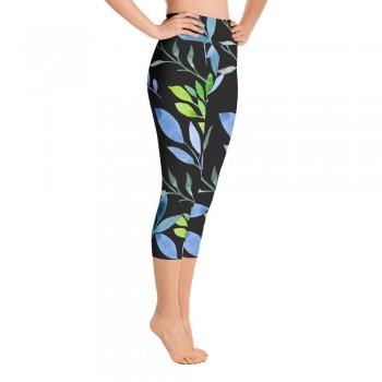 Blue & Green Floral Watercolor Yoga Capri Black Leggings