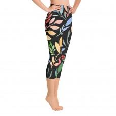 Floral Watercolor Yoga Capri Black Leggings