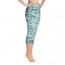 "Shark Leggings - ""Shark in the Water"" Yoga Capri Leggings"