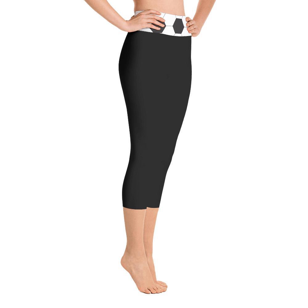 a9793b531c74ec Buy Soccer Ball Geometric Hexagon Pattern Yoga Capri Black Leggings ...
