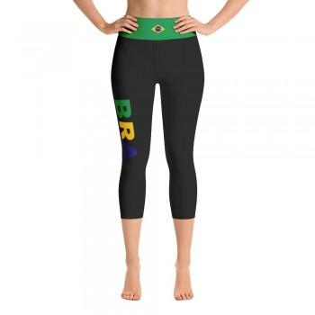 Brazil Black Yoga Capri Leggings with Brazilian Flag