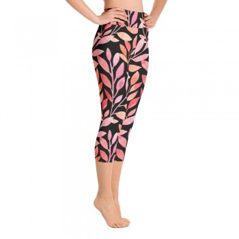 Orange & Red Floral Watercolor Yoga Capri Black Leggings