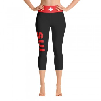Switzerland (SUI) Black Capri Leggings with Swiss Flag Yoga Capri Leggings