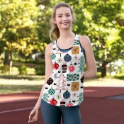 Christmas Racer back Tank Top Shirts for Women