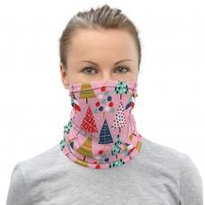 Christmas Pattern Pink Neck Gaiter, Headband, Neck Warmer
