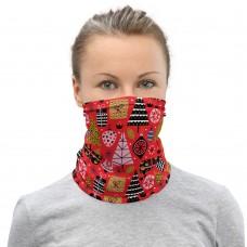 Christmas Pattern Red Neck Gaiter, Headband, Neck Warmer