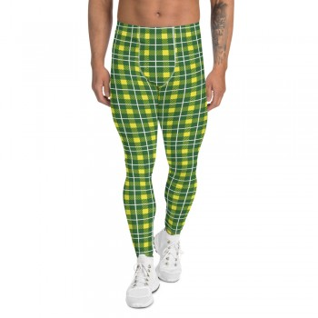 St. Patty's Day Green and Yellow Plaid 500 Men's Leggings
