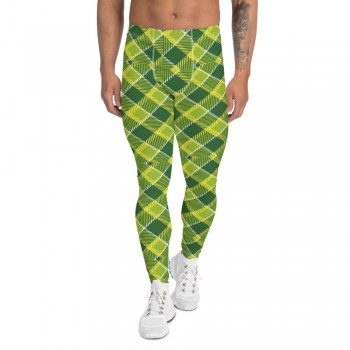 St. Patty's Day Green and Yellow Argyle Men's Leggings