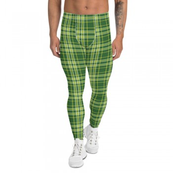 St. Patty's Day Green Plaid Men's Leggings