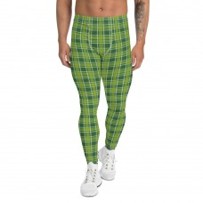 St. Patty's Day Green within Green Plaid Men's Leggings