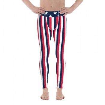 Red, White and Blue Vertical Striped Men's Leggings (USA)
