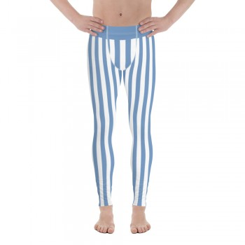 Blue and White Vertical Striped Men's Leggings (Argentina)