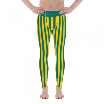 Green and Yellow Vertical Striped Men's Leggings (Australia)