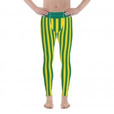 Green and Yellow Vertical Striped Men's Leggings (Brazil)