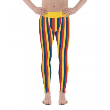 Yellow, Red and Blue Vertical Striped Men's Leggings (Colombia)