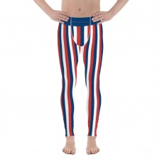 Blue, Red and White Vertical Striped Men's Leggings (Costa Rica)