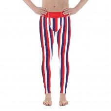 Red, Blue and White Vertical Striped Men's Leggings (Croatia)