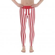 Red and White Vertical Striped Men's Leggings (Denmark)