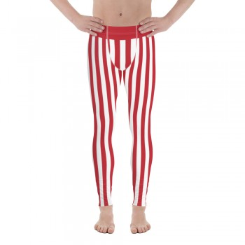 Red and White Vertical Striped Men's Leggings (Denmark)