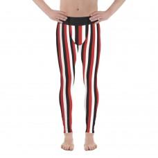 Red, Black and White Vertical Striped Men's Leggings (Egypt)