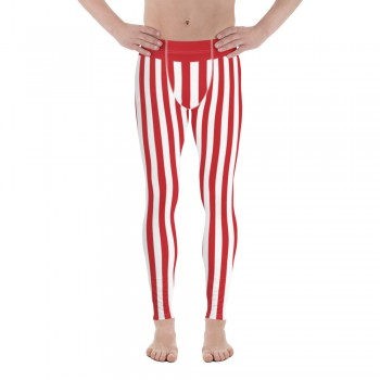 Red and White Vertical Striped Men's Leggings (England)