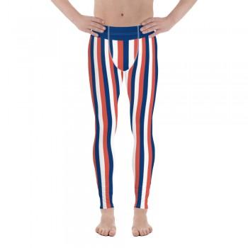 Blue, Red and White Vertical Striped Men's Leggings (France)