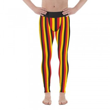 Black, Yellow and Red Vertical Striped Men's Leggings (Germany)