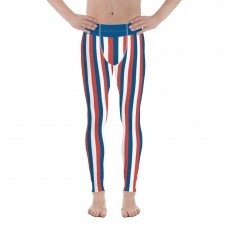 Blue, Red and White Vertical Striped Men's Leggings (Iceland)