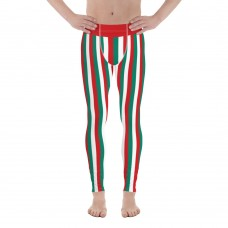Green, Red and White Vertical Striped Men's Leggings (Iran)