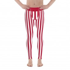 Red and White Vertical Striped Men's Leggings (Japan)