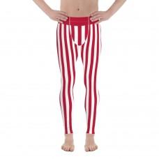 Red and White Vertical Striped Men's Leggings (Japan)
