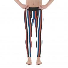 Blue, Red, Black & White Vertical Striped Men's Leggings (Korea)