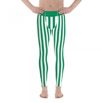 Green and White Vertical Striped Men's Leggings (Nigeria)