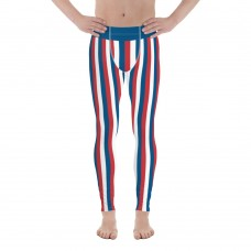 Blue, Red and White Vertical Striped Men's Leggings (Panama)