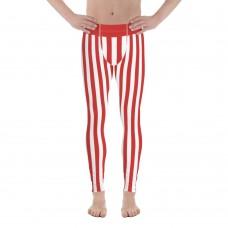 Red and White Vertical Striped Men's Leggings (Peru)