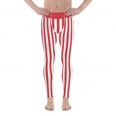 Red and White Vertical Striped Men's Leggings (Poland)