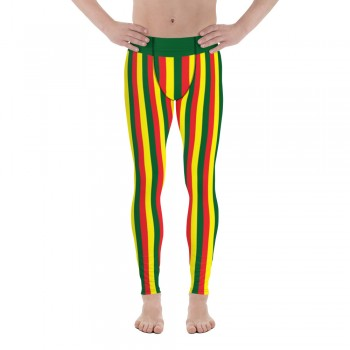 Green, Red and Yellow Vertical Striped Men's Leggings (Portugal)