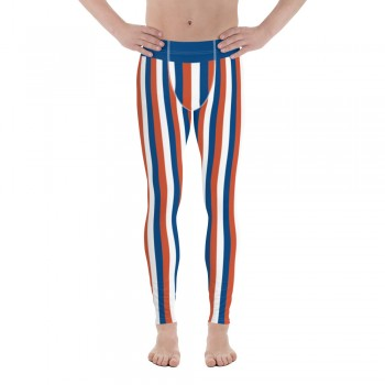 Blue, Red and White Vertical Striped Men's Leggings (Russia)