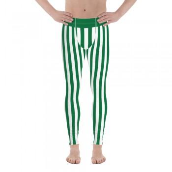 Green and White Vertical Striped Men's Leggings (Saudi Arabia)