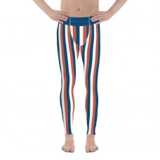 Blue, Red and White Vertical Striped Men's Leggings (Serbia)