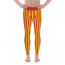 Red and Yellow Vertical Striped Men's Leggings (Spain)