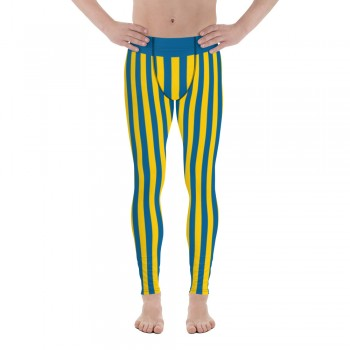 Blue and Yellow Vertical Striped Men's Leggings (Sweden)