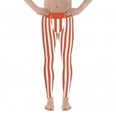 Red and White Vertical Striped Men's Leggings (Switzerland)