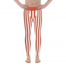 Red and White Vertical Striped Men's Leggings (Switzerland)