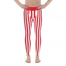 Red and White Vertical Striped Men's Leggings (Tunisia)