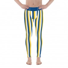 Yellow, Blue and White Vertical Striped Men's Leggings (Uruguay)