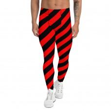 Black and Red Running Stripes Men's Leggings