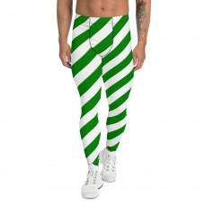 Green and White Running Stripes Men's Leggings