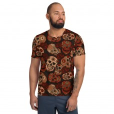 Dark Red Sugar Skull Men's Athletic T-Shirt