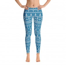 Ugly Sweater Christmas Pattern Printed Sweater Leggings for Women (Blue)